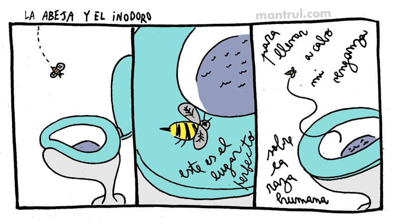 #01847 abeja e inodoro insectos inodoro